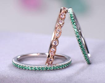 3pcs Half eternity wedding band Wedding ring sets sterling silver with white/rose/yellow gold plated Pink / Green CZ Cubic Zircon 925 silver