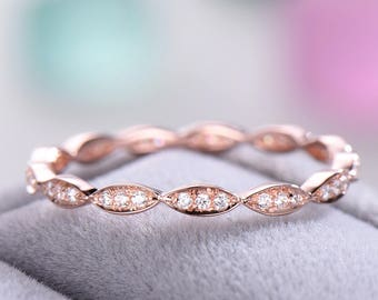 CZ Diamond Wedding Band 925 Sterling Silver Rose Gold Antique Full Eternity Marquise Bridal Anniversary Stacking Ring Matching Band Infinity