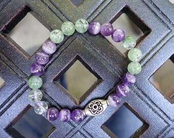 Gorgeous Semi-precious Chrysoprase and Amethyst Beaded Bracelet