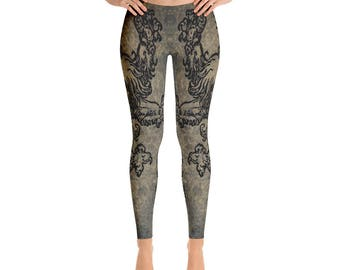 Yoga Leggings - Full Leg Leggings - Exercise Leggings - Festival Leggings - Printed Leggings - Regal Lion Crest Leggings