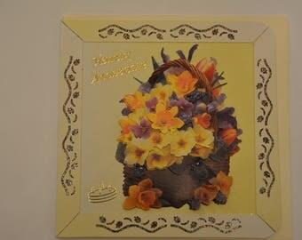 Flowers pansies good 3D birthday card