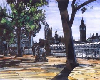 Arts de la rue sur la rive sud, la peinture de paysage aquarelle fine art originale de Londres