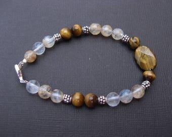 Yellow quartz and Tiger eye bracelet