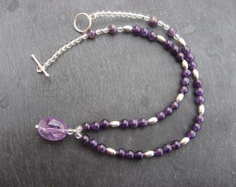 Amethyst and silver necklace 925