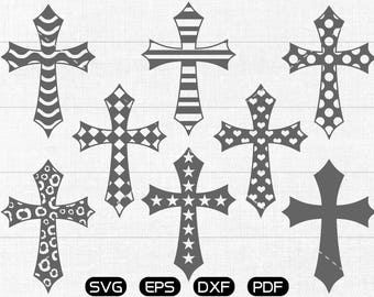 Chevron Cross SVG, Polka dot Cross svg, checked Cross svg, Cross Clipart, cricut, silhouette cut files commercial use