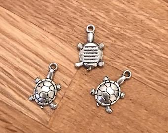 10 tibetan silver turtle / tortoise charms