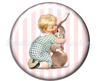 1 round cabochon 30 mm, animals, Easter Bunny