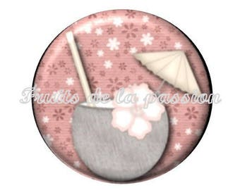 1 cabochon 30mm round glass, holiday, ice, beach
