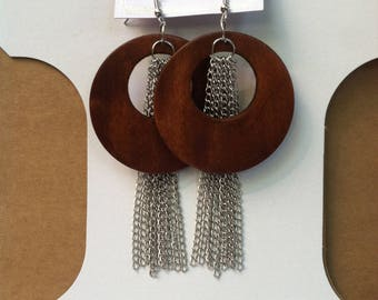 Silver plated and wooden pierce earrings