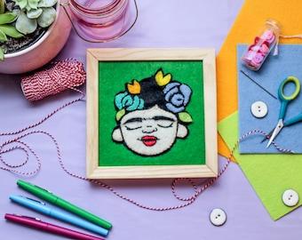 Frida felt framed art