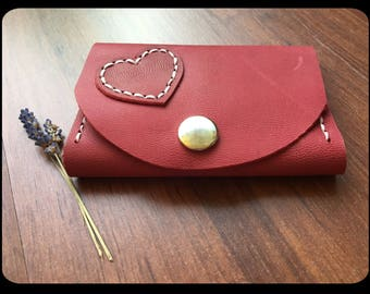Leather wallet/wallet cherry with heart