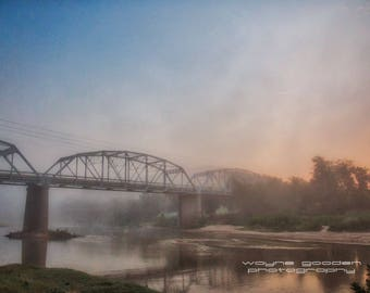 Foggy Bridge Weatherford Texas, Landscape Photography, Home Decor, Wall Art, Gift,