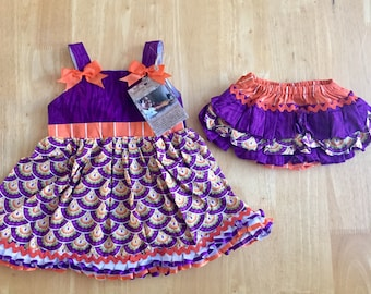 Clemson Dress with Ruffle Bloomers
