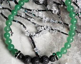 Genuine Green Aventurine Diffuser Bracelet with Swarovski accents