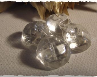 """LOT 4 buttons clear glass facet * 14 mm 0.55 """"shank button sewing notions 1.4 cm"""