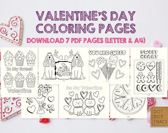Valentine coloring pages  Etsy