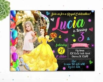 Customizable- Belle Birthday Invitation, Princess Birthday Invitation, Birthday Invitations for Girls,Birthday Invitation Teens,Digital