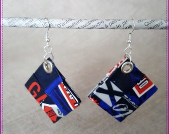 """Earrings in recycled paper laminated, theme """"New York"""""""