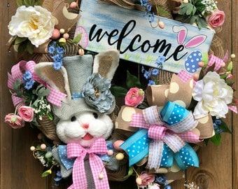 Bunny Easter Wreath, Easter Wreath, Welcome Wreath, Easter Decor, Easter Mesh Wreath, Orange Easter Wreath, Door Decor