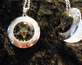 Satan locket inverted pentagram