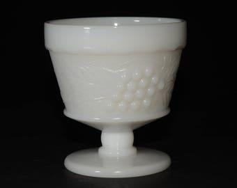 Vintage Milk Glass Footed Dish Ice Cream Dish Custard Cup Berry Bowl Dessert Dish Planter Vase, Grape Design, Grapes & Vine