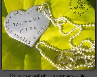 "Necklace personalized heart ""sentimental"" stainless steel"