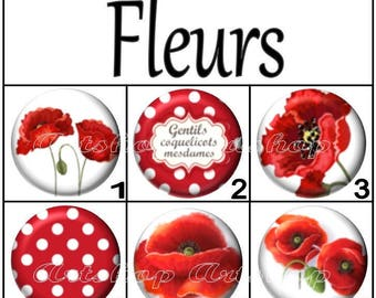 Set of 2 cabochon 20mm, glass, flowers, poppies, flowers