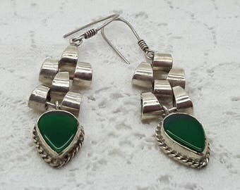 Green Onyx Sterling Silver Earrings/Vintage Dangle Earrings/Handmade/Free Shipping US/925/Christmas/Anniversary/ Birthday/Valentine gift