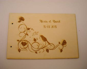 Wedding guestbook 02063 wooden ceremony, customized on request