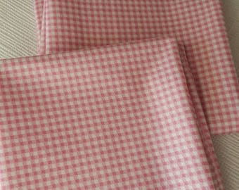 Cotton fabric pink small gingham
