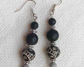 EARRINGS black lava, black and white bone and gray Jasper stone