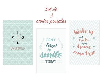 Set of 3 pastel format cards postcards