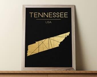 Tennessee Wall Art, Tennessee Poster, Tennessee Map, Tennessee State Sign, Tennessee Print, Tennessee Map Print, Geometric Art, JPG