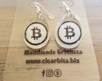 large teardrop Bitcoin B earrings