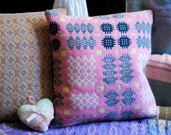 "Welsh Tapestry Cushion, 16x16"" handmade cushion, pink and yellow vintage welsh wool cushion, welsh blanket cushion, handmade in Wales"
