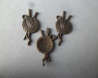 x 5 pendants yarn knit color bronze 26 x 11 mm