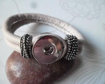 x 1 snap 21 cm beige leather bracelet