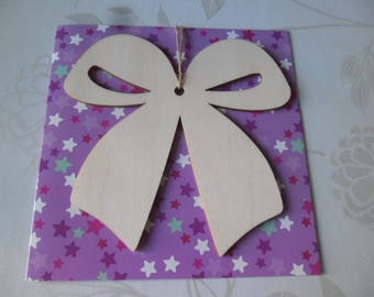 x 1 double knot hanging wooden pendant card + envelope 14 x 14 cm