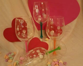 Frosted Dots with Colored Stems Wine Glasses