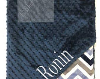 Navy and denim chevron Personalized Minky Blanket, Custom Minky Blanket, Personalized Baby Blanket, Baby Boy Minky Blanket, Baby Gift