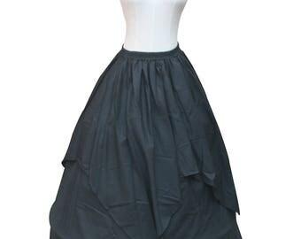 Ladies Black Renaissance Pirate Steampunk Gothic Fancy Theate Reenactment Skirt Victorian Vintage Vampire Witch Skirt