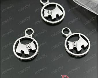 10 charms antique silver 15MM circle dog E28135