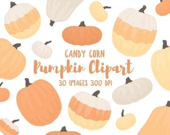 "Pumpkin Clipart - 30 Hi Res PNG Files - ""Candy Corn"" Color Palette - Pumpkin Illustrations, Candy Corn Clipart, Halloween Clipart"