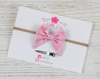 Baby Bow, Baby Headband, Pink Marble Sailor Bow Infant Size, Breakaway Bow