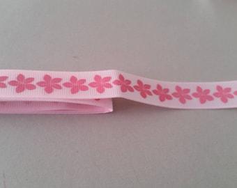 Gros Grain Ribbon - Pink light pink hibiscus flower - 15 mm
