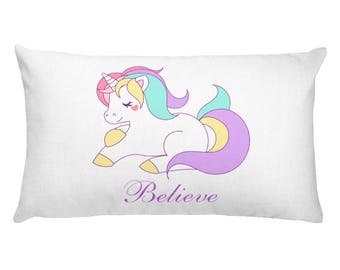 Believe in Unicorns Fairy Tale Pillow, Colorful Novelty Pillow, Dorm Room Decor