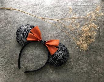 Spider web inspired Disney ears, halloween mouse ears, halloween minnie ears, halloween disney ears