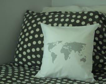 World Map Pillow Decor Dorm Room