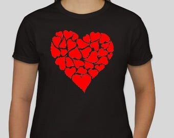 Red Hearts   Men's and Women's  T-Shirt