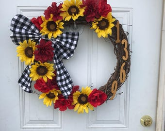 Handmade Front Door Address Wreath (Northern California Area Only)